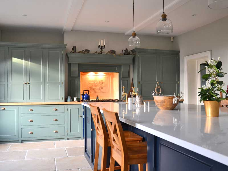 bespoke fully beaded kitchens, hand painted units Solid wood cabinets made to order from The Bramble Tree kitchens