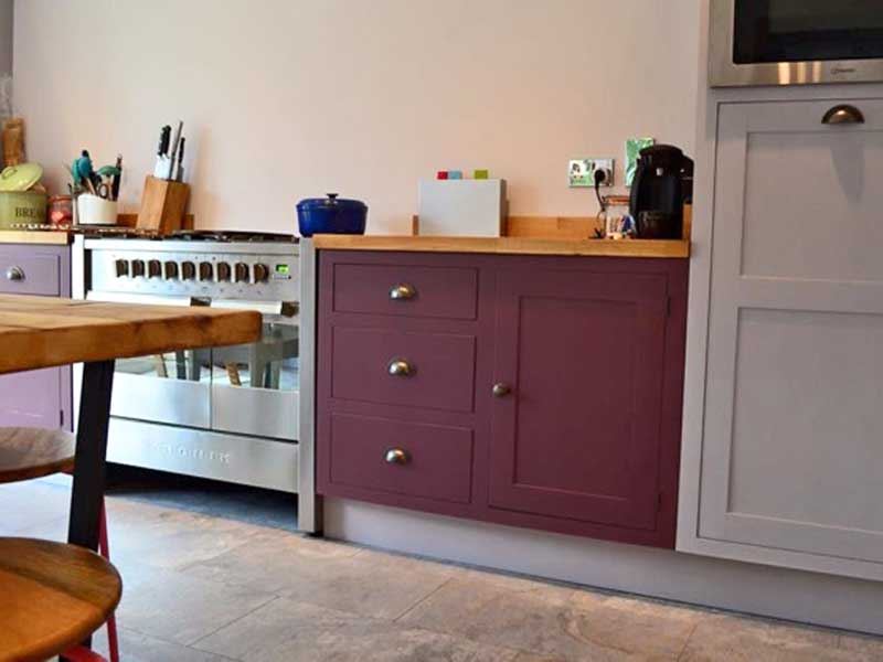 unique kitchen units, not on the high street, hand made to your specifications and painted in a colour of your choice, The Bramble Tree Kitchen makers, sussex